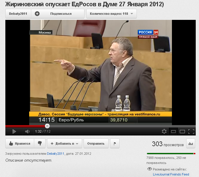 Жириновский опускает ЕдРосов в Думе 27 Января 2012